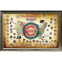 Major League Baseball Parks Map 20x32 Framed Collage w Game Used Dirt From 30 Parks - Cubs Version - This is a must own for any fan of Major League Baseball. This piece features 30 cylinders of game used dirt one from each ballpark in the Majors and gives fans an opportunity to own a piece of every Major League ballpark in one gorgeous piece. This piece features a map of the United States and highlights the location of each park along with a small pinhole image of each. An MLB Authenticated…