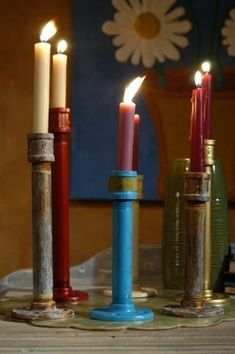 plumbing pipe candle sticks--clever!!