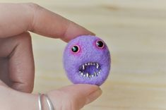 Felt Monster Brooch, Needle Felt Lavender Purpler Merino Wool Pheeple Brooch Pin