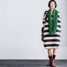 Stripe Loose Big Size Dress Soft Women Clothes Q8088A