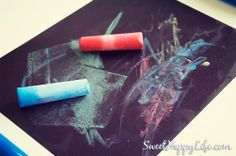 This activity was simple, but the results were pretty underwhelming. The toddlers liked spraying water onto the paper, though.  Fun with Sidewalk Chalk in the Winter - Indoor Toddler Activity