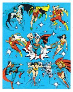 Vintage 80's DC Comics Character Stickers by CollectorsWarehouse Captain Marvel Shazam, Marvel Heroes, Marvel Dc Comics, Superman Wonder Woman, Batman And Superman, Manga, Comic Book Heroes, Comic Books, Comic Art