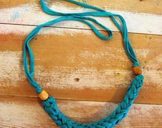 Handmade cotton yarn hand knitting scarf necklace by MissParhaim