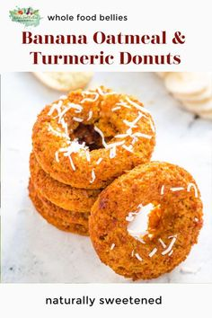 Light and fluffy, these Baked Turmeric Oatmeal Banana Donuts make are a perfect option for a sweet breakfast or an afternoon pick-me-up. They pack well in lunchboxes and can easily be made ahead of time and stored in an airtight container. Gluten-free, refined sugar-free, and vegan, they are the perfect treat! Kid-friendly lunchbox treats that are both delicious and healthy and free from most allergens so school-ground friendly too. They are also egg-free and vegan. Baked and not fried… Oatmeal Banana Bread, Baked Banana, Healthy Snacks To Make, Healthy Sweet Treats, Clean Eating Desserts, Easy No Bake Desserts, Sweet Recipes, Whole Food Recipes, Donut Calories