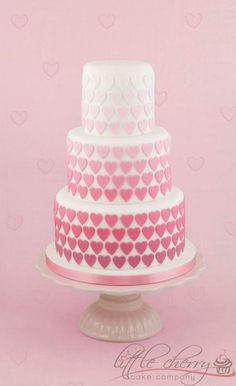 Little cherry cakes.... pink heart cake ombre