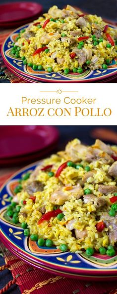 This Pressure Cooker Arroz con Pollo is a saffron braised chicken and rice dish served family style on a large platter garnished with pimiento and peas. (Crockpot Chicken And Rice) Pressure Cooking Today, Pressure Cooking Recipes, Pressure Cooker Chicken, Instant Pot Pressure Cooker, Chicken And Rice Dishes, Chicken Recipes, Chicken Rice, Duck Recipes, Fish Recipes