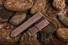 Brown Python Watch Strap Ecru Stitching,https://www.imperastraps.com
