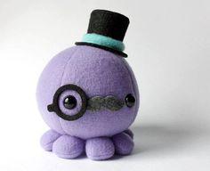 Moustache Octopus Plush w/ Top Hat and Monocle Choose Colors . Biscuit, Octopus Plush, Danbo, Sewing Stuffed Animals, Food Wallpaper, Designer Toys, Moustache, Pretty Cool, Felt Crafts