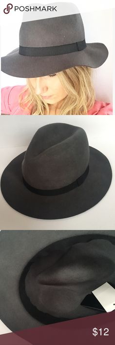 NWT Fab Fedora Hat Gray felt Fedora with black ribbon around. Super adorable for any weather! You definitely need this to compliment your wardrobe!  Check out the cute bag in last photo in @jcal1010 's closet  Accessories Hats