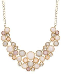 Inc International Concepts Gold-Tone Black Stone Bib Necklace, Created for Macy's - Review Fashion, Black And White Design, Pearl Necklace, Jewelry Watches, Jewelry Accessories, Fashion Jewelry, Pearls, Stone, Create