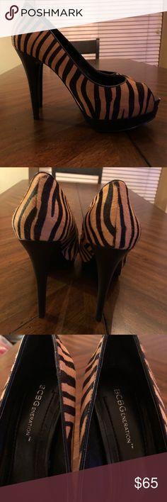 BCBG Tiger striped heels. Never worn! BCBG Tiger striped heels. Never worn. Shoes Heels