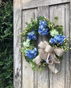 Spring Summer Wreath For Double Doors Blue And White Hydrangea