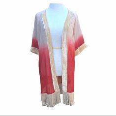 Red beige gold ombre dip dye fringe velvet kimono Adorable open front kimono with long hanging fringe hem and velvet like trim. Beige and red Ombre or dip dye effect to the color. Brand new without tags, never worn, however there is a small hole in the back (as shown in pictures). I believe it is from the tag being ripped off but I am not certain. Jackets & Coats