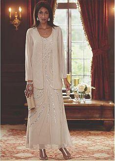 f0a8c01cb0 Pretty Chiffon V-neck Neckline Ankle-length Sheath Column Mother Of The  Bride Dress With Detachable Coat   Beadings