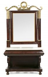 Consola con espejo fernandina en caoba y talla dorada, hacia 1820-1830