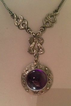 EDWARDIAN STERLING SILVER ARTS AND CRAFTS AMETHYST ART NOUVEAU PENDANT NECKLACE