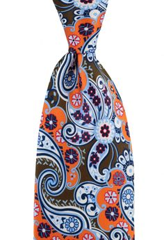 Such a funky floral paisley, in this DOLCEPUNTA Brown Orange Extrafine Silk Neck Tie! | Want your own? http://www.frieschskys.com/neckwear/ties | #instastyle #mensfashion #mensstyle #menswear #dapper #stylish #MadeInItaly #Italy #couture #highfashion