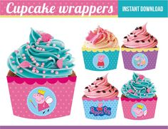 Colour ideas for plain cupcakes for table - pink for Peppa, turquoise for George Frozen Party, Frozen Birthday, Pig Birthday, Birthday Ideas, Sofia Party, Pig Party, Peppa E George, Cupcake Cakes, Pig Cakes