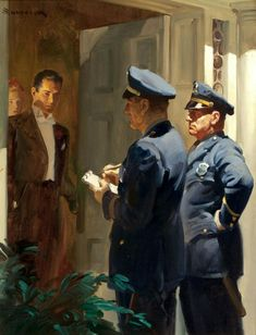 Man in Tuxedo Standing in Open Door as Two Policemen Question Him by Haddon Sundblom - Another great example of Mr. Sundblom's mastery of light in his work.