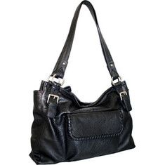 This large faux lambskin tote features a zipper closure and an outside pocket with whip stitch dealing. It has an inside zip pocket.