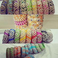 Thick raw silk bangles Silk Thread Bangles Design, Silk Bangles, Thread Jewellery, Diy Jewellery, Bollywood Jewelry, Indian Crafts, Handcrafted Jewelry, Handmade, Mehendi