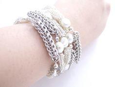 Persian Chainmaille Bracelet, Silver Beaded Bracelet, Pearls & Crystals, Statement Bracelet Wrap, Handmade by JeannieRichard