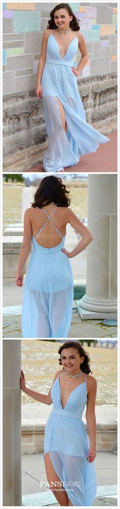 Sky Blue Prom Dresses Long, A-line Formal Evening Dresses with Slit, Sexy Military Ball Dresses Open Back, V-neck Pageant Graduation Party Dresses Chiffon Prom Dresses Long Modest, Best Formal Dresses, Cheap Prom Dresses Online, Open Back Prom Dresses, Prom Dresses Blue, Gowns Online, Party Dresses, Prom Gowns, Pageant Dresses