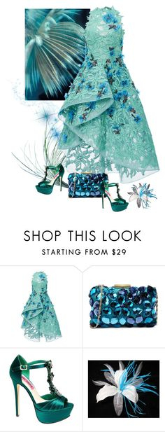 """""""Aqua Colours"""" by rainbowjen ❤ liked on Polyvore featuring Monique Lhuillier, Love Moschino and Betsey Johnson"""