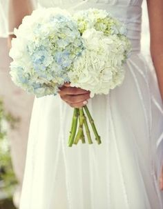 simple hydrangea bouquets, but with a wrap on the stems