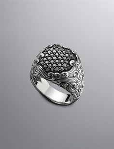 David Yurman | Men's Diamond & Sterling Silver Rings | Men's Jewelry | David Yurman | Waves Ring, Pave Black Diamond