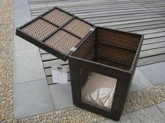 Outdoor Garden Wicker Pet Bed Comfortable Pet House For Dog / Cat Quick Detail: Wicker pet house Cat house w cushion overall size: 35x45x50cm, packing: 37x47x52cm/pc/ctn. Description: Frame: powder .. This small beautifully designed wicker dog crate is fully functional as a safe and comfortable dog or cat house. Made from durable, woven resin wicker, this house features a strong aluminumframe, top opening lid, handy top storage, and a entry way from front. Small wickerHouse with Storage…