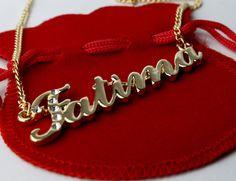 Name Necklace Fatima Gp Arabic/Islamic Personalised Pendant Jewelry Gifts Alphabet Wallpaper, Name Wallpaper, Name Necklace, Initial Necklace, Alphabet Images, Alphabet Design, Fashion Necklace, Fashion Jewelry, Personalized Gold Necklace