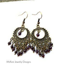 Red Garnet stone and bronze Bohemian chandelier earrings.
