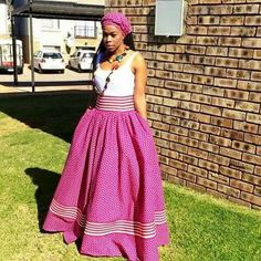 Awesome African Shweshwe Dresses for Women 2017 - Reny styles Traditional Skirts, African Traditional Dresses, Traditional Outfits, Traditional Wedding, Latest African Fashion Dresses, African Print Dresses, African Dress, African Prints, African Attire