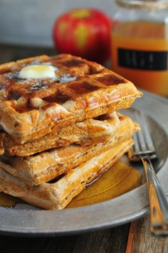 I love to play around with my waffle recipe as the seasons begin to change. It is one of the perfect dishes to incorporate new tastes and flavors. One thing that immediately comes to mind beginning in September through early spring is apple cider. We go through more apple cider during those