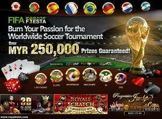 Piala Dunia FIFA 2014 sudah Dekat! Adakah anda teruja?  Marilah sertai World Cup fiesta Tournament kami & Menangi Hadiah Wang Tunai Lebih MYR 250,000!  Raikan Pertandingan Bola Sepak Terbesar di Dunia bersama kami - AMBIL BAHAGIAN SEKARANG : www.rwin888.com