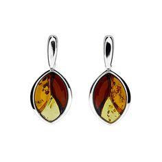 Silver Three Colour Amber Leaf Earrings #Amber #Leaf #Autumn #Earrings