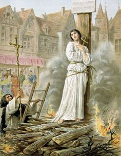 Joan of Arc, also known as the Maid of Orleans and Jeanne d'Arc, lived from about 1412 to 1431. She was canonized as a saint in the Roman Catholic Church in 1920.  She is one of the patron saints of France, honored for her military efforts on behalf of the French dauphin against the claims to the French throne of the English king.  She based her highly-unusual exploits in military leadership on visions she had received, she believed, from God.