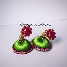 Silk thread jhumkas-silk thread earrings-flower stud by Deepucreations on Etsy