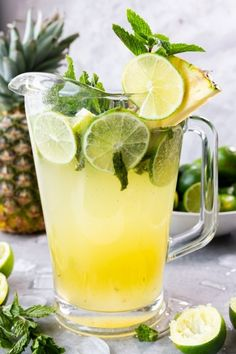 Pineapple Mojito This post is sponsored by Princess Cruises, all opinions are my own. Pineapple Mojito: This pineapple mojito recipe is chock full of classic mojito flavor, mint and lime, with a fun tropical twist! Cocktail Drinks, Fun Drinks, Yummy Drinks, Alcoholic Drinks, Beverages, Diet Drinks, Best Nutrition Food, Health And Nutrition, Mojito Pitcher