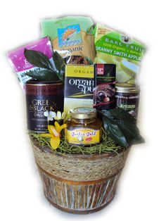 Certified Organic Heart-Healthy Gift Basket. Organic gift basket with healthy snacks for those on heart-healthy diets.
