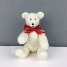 Collectable needle felted teddy bear - white £30.00