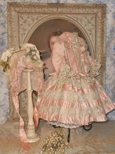 ~~~ Fancy French Pink Silk and Lace Bebe Costume with Bonnet ~~~ from whendreamscometrue on Ruby Lane
