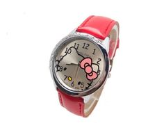 Wholesale women girl hello Kitty wristwatches ladies fashion leather quartz watch women watches 12015053015