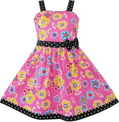Girls Dress Pink Yellow Flower Black Belt Kids Clothes Size 4-12 New