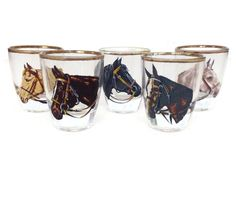 Mid Century shot glasses featuring horse heads of Derby horses Set of 5 glasses Retro barware for the equestrian Gold rims 2.5 inches high