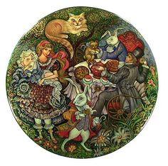 """Alice In Wonderland "" Lacquer Art By Vera Smirnova (Palekh)"