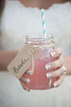 Mason jar glasses for a beautiful bridal shower- cute idea!