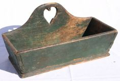 early 19thC dovetailed wall box w primitive heart