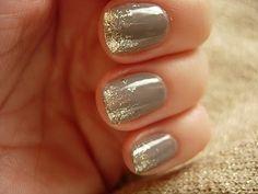grayish tan and gold glitter nails